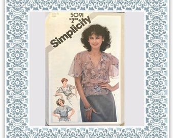 Simplicity 5091 (1981) Misses' pullover tops with flutter sleeves - Vintage Uncut Sewing Pattern