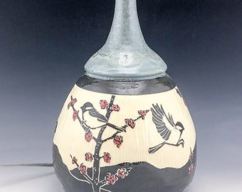 Sgraffito Ceramic Chickadee Lamp Base in Gray with Red Maple Buds