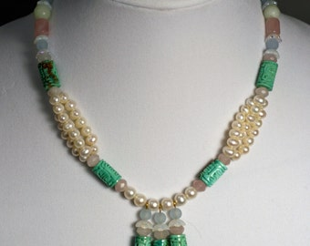 Carved Chinese Turquoise Pearl Necklace