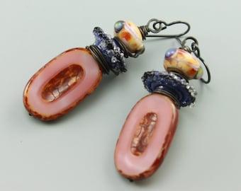 Rustic Earrings, Boho Earrings, Rustic Boho Earrings, Tribal Boho Earrings, Gypsy Earrings, Pink Earrings, Blue Earrings, #593-114