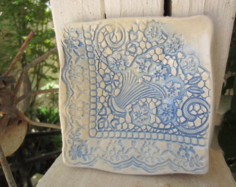Blue and White Lace Ceramic Dish Serving Bowl