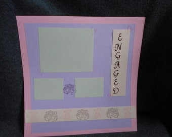 Engaged 12 x 12 Premade Scrapbook page, pink, purple, and gray wedding/engagement themed scrapbook page, hand stamped unique engagement gift