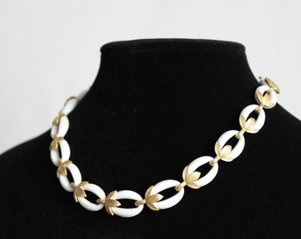 Vintage Trifari White Enamel Ovals with Gold Tone Leaves Necklace