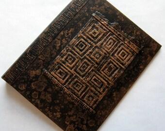Refillable Journal Handmade Distressed Black Copper Retro Squares  9x7 Original