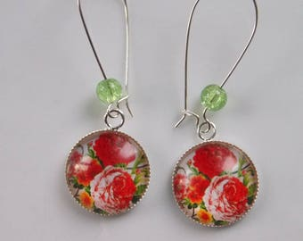 earrings, summer flowers and glass beads