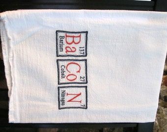 Periodic Table BaCoN Embroidered Flour Sack Towel