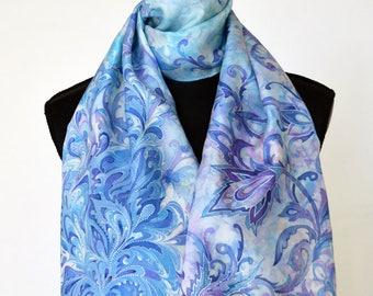 "Original Hand Painted Silk Scarf ""Frost on the window"". Blue Silk Scarf. One of a Kind Artwork on Habotai silk 28 x 145 cm.Ready to Ship."