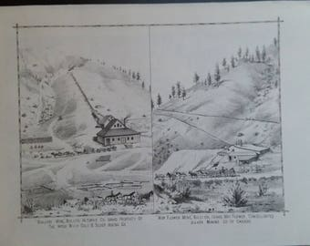 Two Silver Mine's, Idaho, Territory. 1884 Lithograph