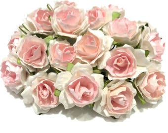 Pink And White Tattered Mulberry Paper Roses Tr002