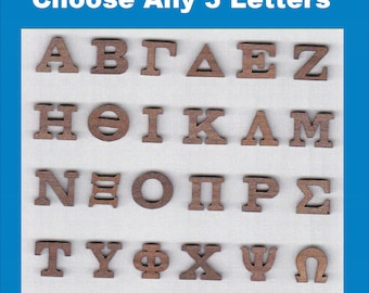 Wooden greek letters etsy quick view wood letters set spiritdancerdesigns Image collections