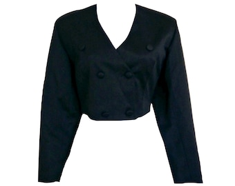 Cropped Tuxedo Blazer Vintage Jacket 80s Double Breasted Size Small