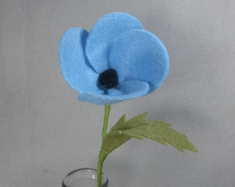 Artificial Flower Made-To-Order - Poppy, Fake Flower, Felt Flower, Artificial Poppy, Fake Poppy, Stem Flower, Flower Arrangement, Floral