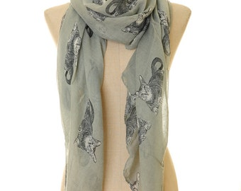 Cat Scarf | Cat Summer Infinity Scarf | Cat Lover Gift | Grey Scarf | Spring Summer Scarf | Kitty Scarf | Cute Animal Scarf S-24