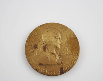 Vintage Charles Lindbergh Bronze Medal of Congress Sculpted by Laura Gardin Fraser for the US Mint