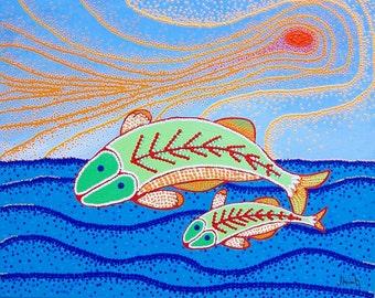 Flying Fish abstract acrylic