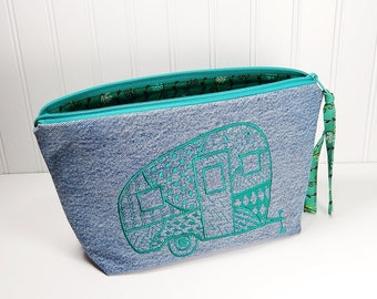 Camper Makeup bag, large makeup bag, cosmetic pouch, denim zipper pouch, embroidered camper bag, gift for camper