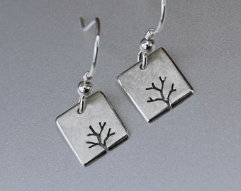 Tiny Tree Earrings, Sterling Silver earrings, Silver Jewellery, Square Earrings.