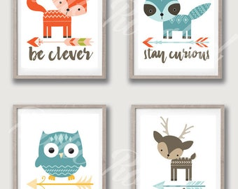 Set of 4 Woodland Animal Nursery Printable Art 8x10 jpeg instant digital download be clever stay curious grow wise be kind