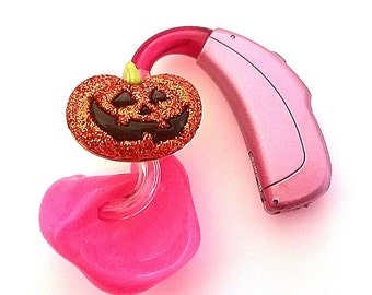 Hearing Aid Tube Trinkets:  Glitter Jack-o-lantern Pumpkins for Halloween!  Please select quantity 2 for a pair!