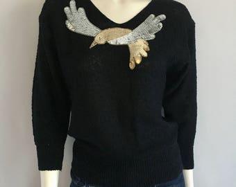 Vintage Women's 80's Black Sweater, Metallic, Acrylic, Dolman Sleeve (S)