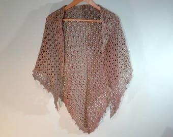 triangle crochet shawl, beige crochet wrap, crochet scarf