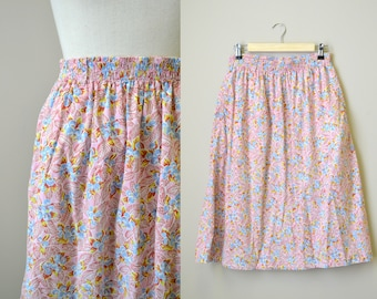 1980s Blueberry Print Cotton Skirt