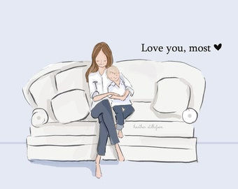 Mom and Son Art - Love You, Most with ONE son - Art for Moms - Inspirational Art for Women -