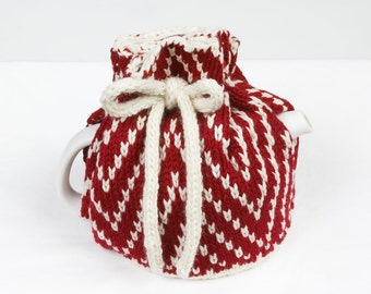 Knitted Teapot Cozy Cosie Deep red and White Scandinavian Fair Isle Design.
