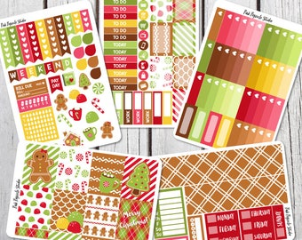 50% OFF - Gingerbread Christmas Deluxe Weekly Kit Planner Stickers Designed for Erin Condren Life Planner Vertical