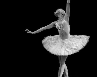 Ballerina Photo in Black & White, Russian Dancer Performing the Dying Swan in St Petersburg, Russia. Fine Art Print A4 (210mm x 297mm) #8