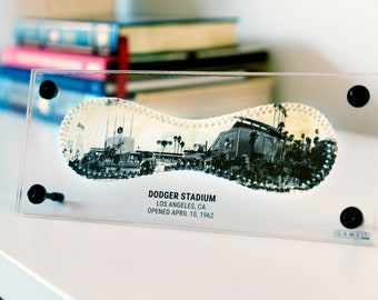 Dodger Stadium Print on Restored Baseball Leather - Unique Baseball Gift