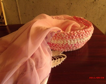 1 piece Varigated Pink and white 100% Cotton Crocheted basket