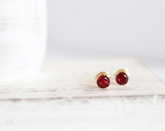 Garnet Studs - January Birthstone Earrings - 14k Gold Post Earrings - Gemstone Earrings - Simple Gold Posts - Dark Red Earrings - Red Garnet