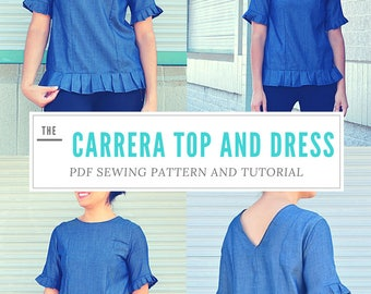 The Carrera Top and Dress Printable Sewing pattern PDF sewing pattern and tutorial included, plus sizes for women from 4 to 22