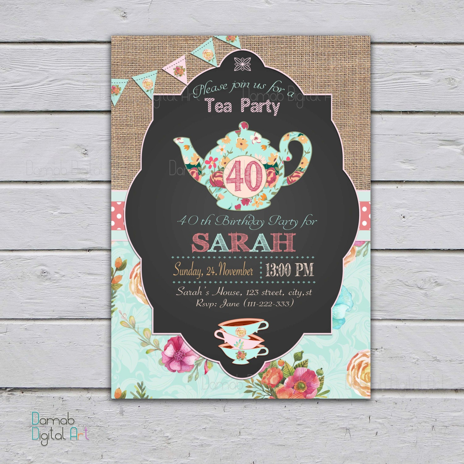 Adult tea party invitation high tea party invitation 30th zoom monicamarmolfo Image collections