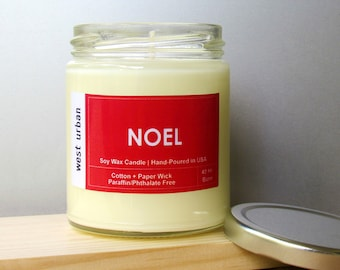 Soy Candle, Scented Jar, Home Decor, Gift, Container Candle, NOEL