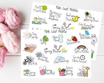Spring Bucket List Doodles Planner Stickers