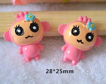 15pcs Pink Monkey DIY Cartoo Kawaii resin flatback cabochon