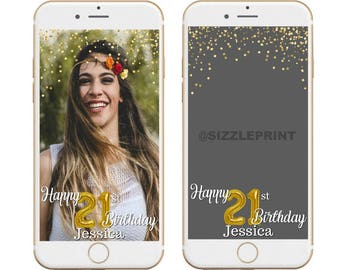 GOLD GEOFILTER  Plus Family & Friends Message   Custom Personalized Snapchat Geofilter   Girl Adult Birthday Party Balloons Glitter