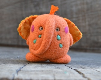 Needle Felted Sad Orange Sherbet Elephant Ready to Ship