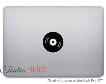 Music Record Macbook Decal / Music Record Macbook Decal / Record Decal Sticker / Laptop Notebook Vinyl Decal Removable  - T002
