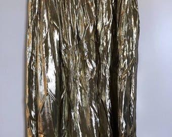 Vintage Gold Metallic Full Skirt 30x35 Mid Calf 70's 80's