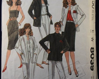 Sewing Pattern McCall's 8039 for a Woman's Jacket, Camisole, Trousers & Skirt in Size 14