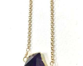 Amethyst necklace, amethyst jewelry, amethyst point layering necklace, gemstone jewelry