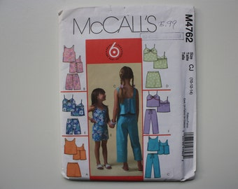 McCalls 4762  UNCUT  Pattern Children's and Girl's Tops, Skorts, Shorts and Capri Pants