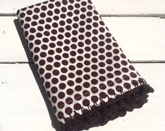 Pillowcase with Crocheted Edging Brown Organic, Polka Dot, Granny Chic, Shabby Chic, Cottage Chic