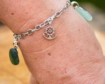 Green / aqua seaglass charm bracelet