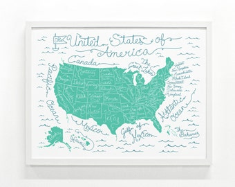 Kids Room Art Print, Travel Map Poster, United States Map Poster, Travel Map Gift- 18 x 24 Handprinted USA map: