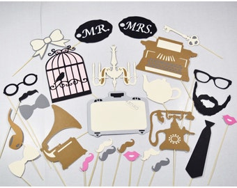 Vintage wedding photo booth props 27 pc*, wedding photobooth, vintage props