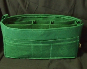 "Purse Organizer Insert 16""l x 8""h x 5.5""d ...12 Pockets.. LV purse insert Protector bottom shaper... Green Felt insert"
